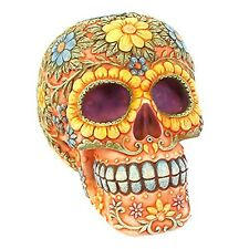 Orange Floral Candy Skull Money Coin Box Saving Ornament Gift DAY OF THE DEAD