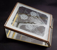 Vintage Mirrored Glass Etched Flower Jewelry Trinket Box Brass Shabby Chic