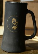 The Playboy Club Black & Gold Frosted Glass Mug Beer Stein Cup Vintage
