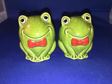 ROUND FROG salt and pepper shakers   with no stoppers #7 Red Bow ties