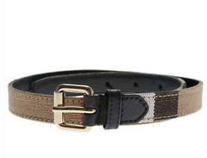 NWT NEW Burberry CA1 kids nova check belt brown or black leather 60cm or 70cm
