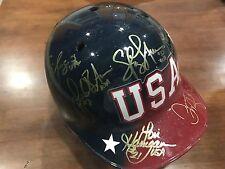 2004 TEAM USA GOLD SPOFTBALL SIGNED FULL HELMET ENTIRE TEAM (18) FINCH OSTERMAN