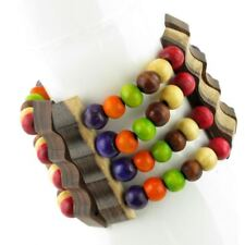 WOOD BRACELET MULTI COLOURED WOODEN BEADS ELASTICATED STRETCH
