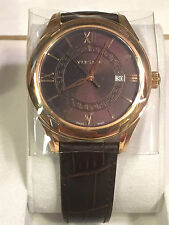 VERSACE MEN'S BROWN & GOLD SWISS MADE AUTOMATIC LEATHER BAND WATCH W/ DATE!!