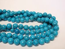 Blue turquoise round beads.10mm blue gemstone beads. Full strand on sale