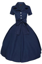 NEW VINTAGE STYLE NAVY BLUE ROCKABILLY SWING SHIRT DRESS - SIZES 10 -18