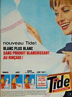 PUBLICITÉ DE PRESSE 1963 LESSIVE TIDE BLANC PLUS BLANC SANS PRODUIT BLANCHISSANT