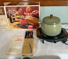 Nib Vintage Cornwall Electric Fondue Set Avocado Green Kitchen Appliance