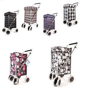 Shopping Trolley 6 Wheel Cart Grocery Folding Market Laundry Bag / Spare wheel