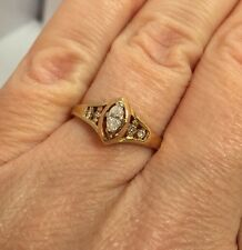 14k Yellow Gold 1/5 Ct Diamond Solitaire Marquise Engagement Wedding Ring 6 1/2