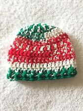 Handmade Crochet Baby Hat, 0-3 months with Acrylic Yarn, Christmas Color