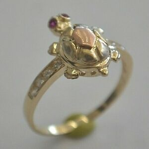 14K YELLOW GOLD MOVING NECK TURTLE RING