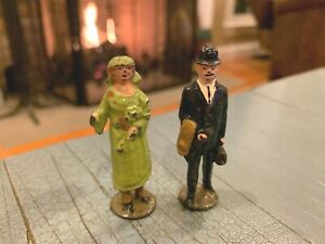 Vintage Metal Man And Woman In Green Dress England Business Man Putz