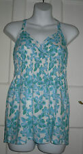 WOMENS PAPAYA Blue/White Floral Cotton V neck Halterneck Top Size:10/38 (WT82)