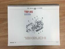Takeuchi Tb145 Parts Manual Sn 14510004 And Up Free Priority Shipping