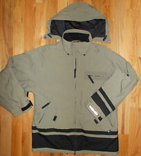 Snowboard Parka XL Black Dot Coat Mens Tan Black Hooded Overcoat Jacket 4C77