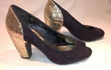 Peacocks Gold & Black Sequin peep toe High Heels Court Shoes Size 3 eur 36