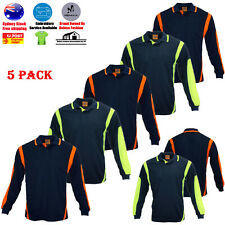 5 PACK HI VIS POLO SHIRT HIVIS ARM PANEL PIPING WORK WEAR COOL DRY LONG SLEEVE