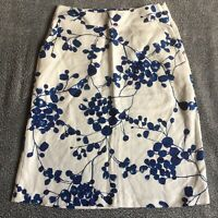 JOULES UK 8 Cream & Blue Straight Skirt Side Zip Pockets Pencil Summer Holiday