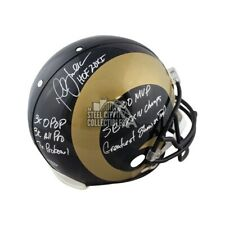 Marshall Faulk 7 Inscrip Autographed Rams Proline Full-Size Football Helmet BAS