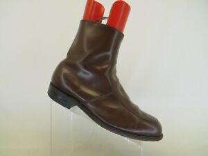 Brown Leather Zip Cowboy Western Boots Mens Size 10.5 EEE