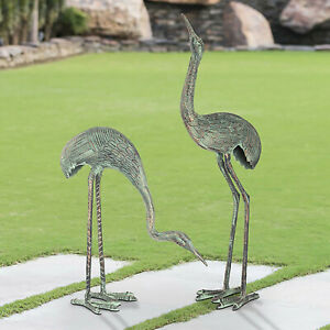 Courting Crane Pair Stately Garden Statues Heron Sculptures
