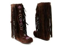 Knee High Native American Moccasin Boots - Indian Fringe Winter Fashion Boots
