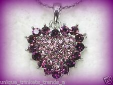 VINTAGE STYLE PURPLE CRYSTAL SILVER HEART PENDANT NECKLACE MOTHERS DAY GIFT