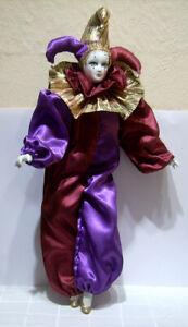 großer Harlekin Puppe Clown Figur 46 cm