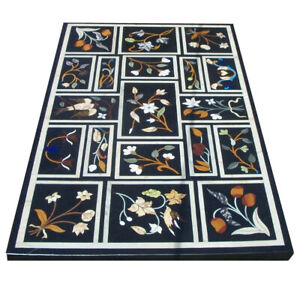 """24""""x30"""" Black Rectangle Marble Coffee Top Table Fruits Marquetry Block Deco B676"""