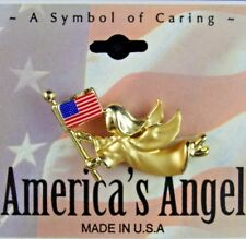 NOS Signed GIGI  AMERICA'S ANGEL AMERICAN FLAG PATRIOTIC MEMORIAL Lapel Hat Pin