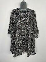 BNWT WOMENS RIVER ISLAND SIZE UK 12 BLACK WHITE DAISY CASUAL SUMMER SMOCK DRESS