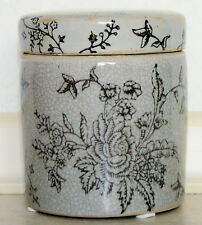 """4"""" (10 cm) Chinese Round Jar with floral design"""