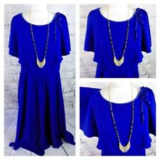 "Vintage 70s 80s maxi dress 14 Bust 38"" royal blue draped flirty sleeves tie"