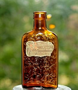 """Beautiful Tiny Mini Bottle - Four Roses 1/10 Pint Nice Label & Embossing 4"""" tall"""