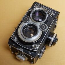 Rolleiflex White face 3.5F Planar 75mm camera with lens hood RARE light meter