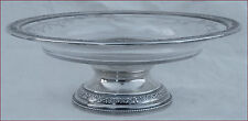 French Sterling Silver Cut Crystal Footed Candy Cake Fruit Dish Paris 1900