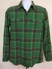 RRL Double RL Ralph Lauren Heavy Plaid Flannel Shirt Green  And Grey M Medium