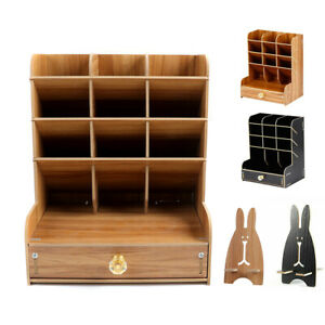 Wooden Pen Organizer Multi-Functional DIY Holder Storage with Drawer Home Office