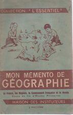"""MON MEMENTO DE GEOGRAPHIE, Coll """"L'ESSENTIEL"""", J. ANSCOMBRE"""