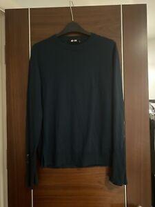 ME And EM Dark Green Merino Wool Button Cuffs Jumper Size 12