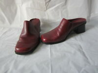 "Madeline Women's Shoes Burgundy Leather Mules/Clogs ""Fable"" - Size 6.5"