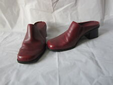 """Madeline Women's Shoes Burgundy Leather Mules/Clogs """"Fable"""" - Size 6.5"""