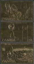 Zambia 1984 GOLD/Kaunda/Independence/Statue/Flowers/Crops/Farming 3v set (42886)
