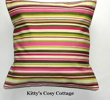 "16""  Retro Chic 'Goa' Pink, green, yellow stripes  Cushion cover"