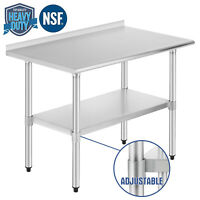 Commercial Prep Work Table w/Backsplash Wheel Kitchen Restaurant Stainless Steel