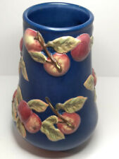 New ListingLongaberger Blue Vase with Red Apples Early Harvest 10 1/2 Tall - Free Shipping