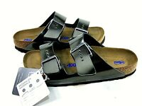 Birkenstock Womens Arizona BS Metallic Anthracite Sandals,US 9,EUR 40,Narrow Fit