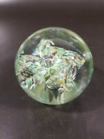 Murano Paperweight w Green Orange trumpet flowers Hand Blown, Controlled Bubbles