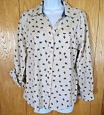 Style & Co Button Diown Woman's Size M Button Navy Blue Flying Bird Block Print